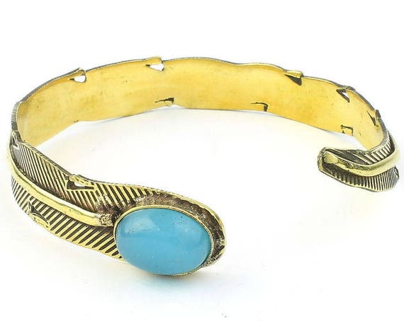 Blue Chalcedony Feather Bracelet,Lower Arm Cuff, Brass, Western, Stone Bangle, Boho, Bohemian, Gypsy, Festival Jewelry