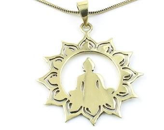 Brass Meditation Necklace, Buddha Pendant, Lotus, Mandala, Yoga Jewelry, Festival Jewelry, Boho, Bohemian, Gypsy, Hippie, Spiritual