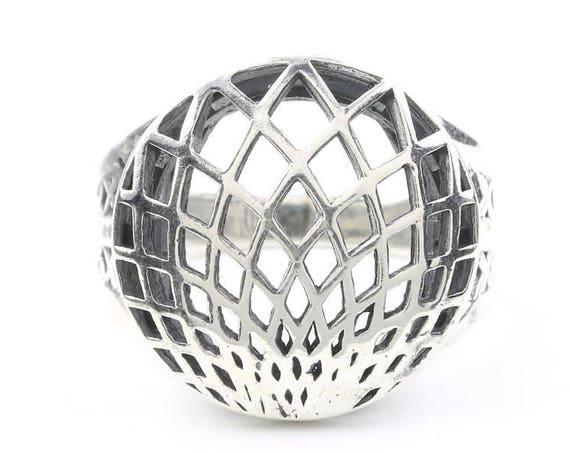 Sterling Silver Lotus Ring, Geometric Lotus Ring, Geometry, Bohemian, Boho, Gypsy, Festival, Yoga, Meditation Jewelry