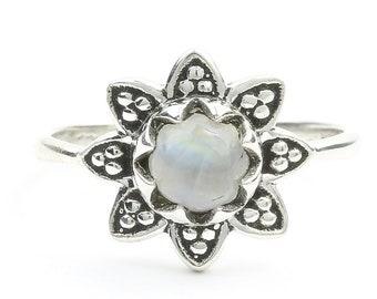 Moonstone Flower Ring, Sterling Silver Moonstone Ring, Mandala Moonstone Ring, Stone Jewelry, Gemstone, Crystal, Boho, Gypsy, Hippie Jewelry