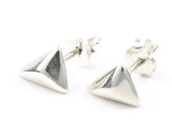Sterling Silver Geometric Earrings, Triangle Posts, Minimal Stud Earrings, Modern, Boho, Bohemian, Gypsy, Festival Jewelry