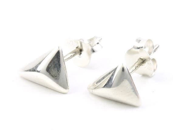 Sterling Silver Geometric Earrings, Triangle Posts, Minimal Stud Earrings, Modern, Boho, Bohemian, Gypsy, Festival Jewelry