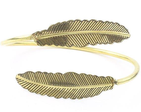Desert Feather Brass Bracelet, Western, Indian, Armlet, Bangle, Lower Arm Cuff, Boho, Bohemian, Gypsy, Festival, Hippie