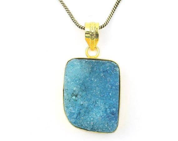 Blue Druzy Brass Necklace,  Dyed Quartz Drusy, Crystal Necklace, Raw Stone Jewelry, Festival Jewelry, Boho, Hippie