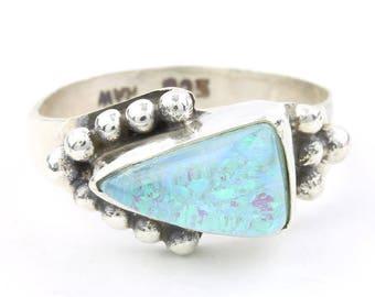 Opal Refuge Ring, Sterling Silver Opal Ring, Blue Lab Opal, Stone, Festival Jewelry, Gemstone, Boho, Gypsy, Hippie, Spiritual