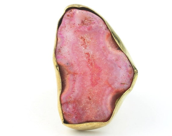 Brass Agate Ring, Gemstone Ring, Raw stone rings, Yoga Jewelry, Tribal, Ethnic Ring, Gypsy, Hippie Jewelry, Festival Jewelry, Boho