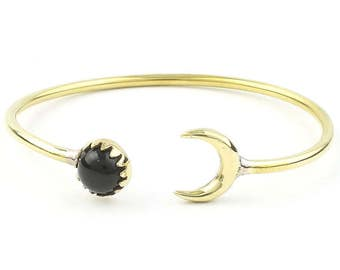Moonstruck Brass Bracelet, Crescent Moon Bracelet, Black Onyx, Stone Bangle, Lower Arm Cuff, Boho, Bohemian, Gypsy, Festival Jewelry