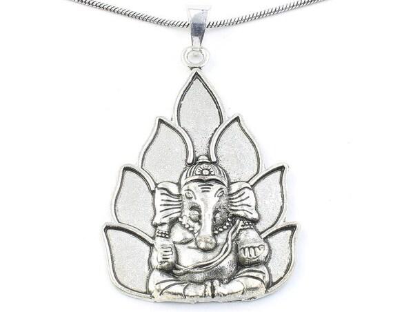 Lotus Ganesh Necklace, Large Ganesha Pendant, Elephant, Yoga, Festival Jewelry, Boho, Bohemian, Gypsy, Hippie, Spiritual
