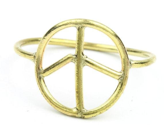 Brass Peace Ring, Peace Sign Ring, Minimal Ring, Modern Ring, Festival Jewelry, Gypsy Jewelry, Boho, Hippie