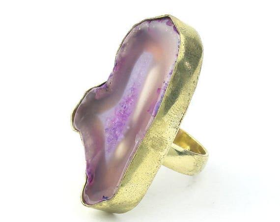 Brass Agate Ring, Purple Gemstone Ring, Raw stone rings, Yoga Jewelry, Tribal, Ethnic Ring, Gypsy, Hippie Jewelry, Festival Jewelry, Boho