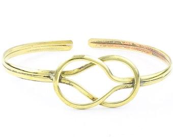 Knot Brass Bracelet, Endless Knot Bangle, Lower Arm Cuff, Celtic Knot, Boho, Bohemian, Gypsy, Festival Jewelry, Stacking Bracelets