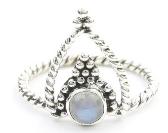 Moonstone Temple Ring, Sterling Silver Moonstone Ring, Flower Moonstone Ring, Stone Jewelry, Gemstone, Crystal, Boho, Gypsy, Hippie Jewelry