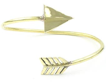 Arrow Brass Bracelet, Bangle, Lower Arm Cuff, Geometric, Boho, Bohemian, Gypsy, Festival Jewelry, Minimal, Western