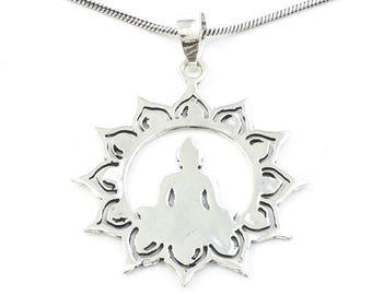 Meditation Necklace, Buddha Pendant, Lotus, Mandala, Yoga Jewelry, Festival Jewelry, Boho, Bohemian, Gypsy, Hippie, Spiritual