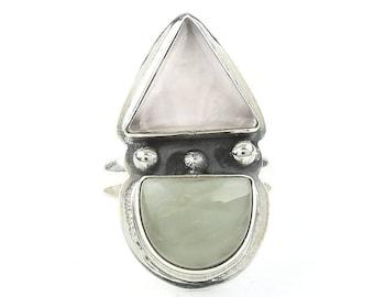 Winter Sunrise Ring, Sterling Silver Rose Quartz And Cat's Eye Ring, Statement Piece, Festival Jewelry, Boho, Gypsy, Hippie, Spiritual
