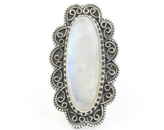 Snowfall Ring, LARGE Sterling Silver Moonstone Ring, Statement Piece, Gemstone Jewelry, Boho, Festival, Gypsy, Hippie, Spiritual