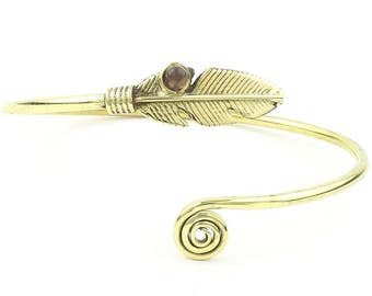 Amethyst Feather Bracelet, Brass Bracelet, Western, Stone Bangle, Lower Arm Cuff, Indian, Gemstone, Boho, Bohemian, Gypsy, Festival Jewelry