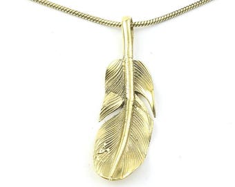 Feather Necklace, Brass Feather Pendant, Western, Indian, Festival Jewelry, Boho, Bohemian, Gypsy, Hippie, Spiritual