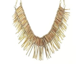 Skadi Necklace, Brass Bead Choker, Ethnic Jewelry, Tribal, Festival, Hippie, Gypsy, Boho, Bohemian