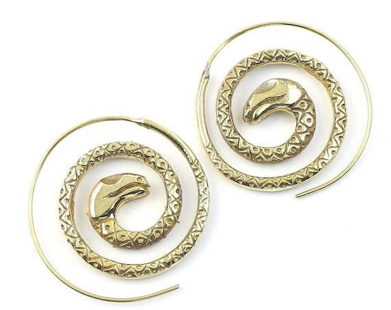 Spiral Snake Earrings, Serpent Earrings, Animal Earrings, Tribal Earrings, Festival Jewelry, Gypsy Earrings, Ethnic