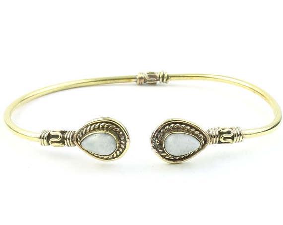 Lulu Moonstone Brass Bracelet, Stone Bangle, Lower Arm Cuff, Gemstone, Boho, Bohemian, Gypsy, Festival Jewelry, Rainbow Moonstone