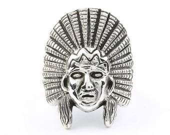 Large Indian Chief Ring, Sterling Silver ring, Chief Head, Gypsy, Festival Jewelry, Gemstone, Southwestern Design