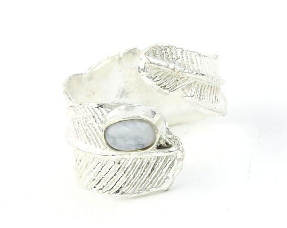 Moonstone Feather Ring, Adjustable, Western, Yoga Jewelry, Tribal, Ethnic Ring, Gypsy, Hippie Jewelry, Festival Jewelry, Boho, Minimal