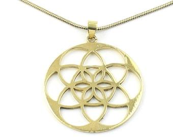 Seed Of Life Necklace, Brass, Sacred Geometry Pendant, Geometric, Yoga Jewelry, Festival Jewelry, Boho, Bohemian, Gypsy, Hippie, Spiritual