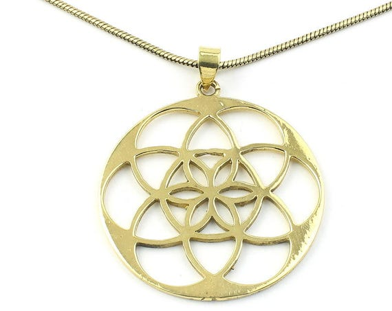 Seed Of Life Necklace, Brass, Sacred Geometry Pendant, Geometric, Yoga Jewelry, Festival Jewelry, Boho, Bohemian, Gypsy, Hippie, Spiritual