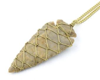 Arrowhead Necklace, Wire Wrapped Pendant Necklace, Wrapped Stone, Southwest, Gypsy Jewelry, Festival Jewelry, Boho, Hippie