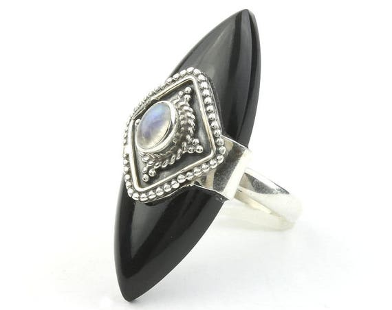 Black Widow Ring, Sterling Silver Moonstone Ring, Shield, Black Onyx, Statement Piece, Festival Jewelry, Boho, Gypsy, Hippie, Spiritual