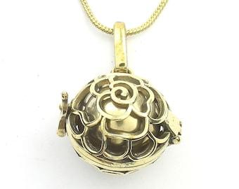 Rose Bola Necklace, Harmony Ball Pendant, Pregnancy Gift, Locket, Meditation, Festival Jewelry, Boho, Gypsy, Hippie, Spiritual