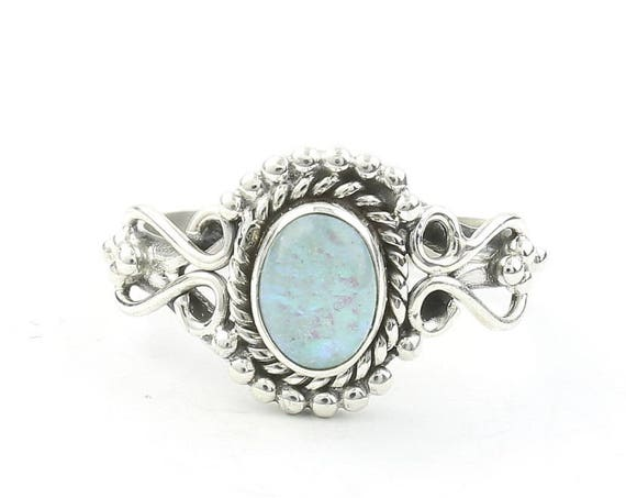 Moon Waters Ring, Sterling Silver Opal Ring, Vintage, Stone Jewelry, Gemstone, Boho, Gypsy, Wiccan, Hippie, Spiritual, Victorian