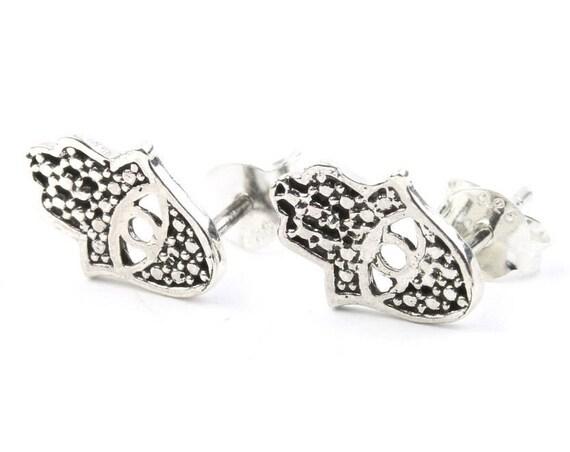 Sterling Silver Hamsa Earrings, Evil Eye Stud Earrings, Hand Of Fatima, Boho, Bohemian, Gypsy, Festival Jewelry, Jewish Jewelry