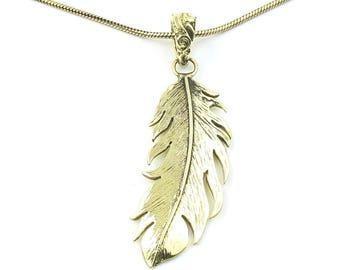 Wispy Feather Necklace, Brass Feather Pendant, Western, Indian, Festival Jewelry, Boho, Bohemian, Gypsy, Hippie, Spiritual
