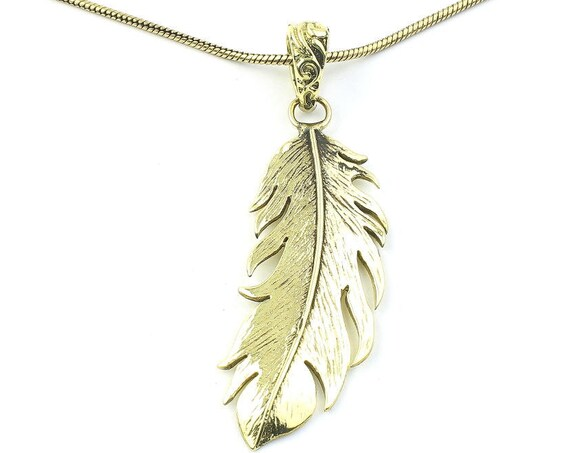 Wispy Feather Necklace, Brass Feather Pendant, Western, Indian, Festival Jewelry, Boho, Bohemian, Gypsy, Hippie, Spiritual