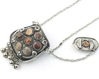 Agra Poison Necklace, Secret Compartment, Ethnic Penndant, Tribal, Yoga Jewelry, Festival Jewelry, Boho, Gypsy, Hippie, Spiritual