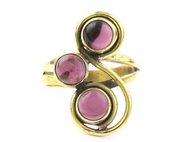 Amethyst Waters Ring, Brass Spiral Gemstone Ring, Ethnic, Tribal, Yoga, Gypsy, Hippie Jewelry, Festival Jewelry, Bohemian, Boho