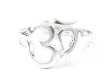 Sterling Silver Om Ring, Ethnic Ring, Yoga Ring, Meditation, Om Creation Ring
