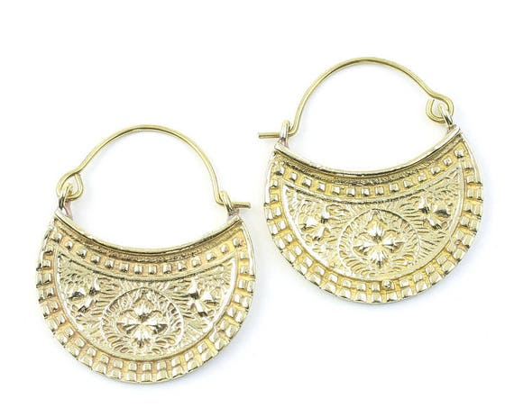 Vyas Earrings, Ornate Ethnic Earrings, Tribal Brass Earrings, Festival Earrings, Gypsy Earrings, Hoop Earrings