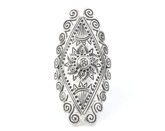 Sterling Silver Astarte Ring, Large, Full Finger, Shield, Statement Piece, Organic, Boho, Bohemian, Hippie, Gypsy, Festival Jewelry
