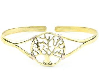 Tree Of Life Brass Bracelet, Bangle, Lower Arm Cuff, Tree, Nature, Boho, Bohemian, Gypsy, Festival Jewelry