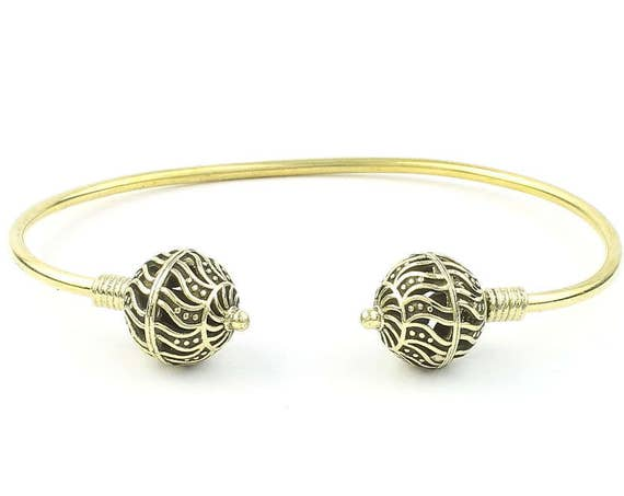 Nova Brass Bracelet, Ethnic Bangle, Lower Arm Cuff, Tribal, Boho, Bohemian, Gypsy, Festival Jewelry, Stacking Bracelets