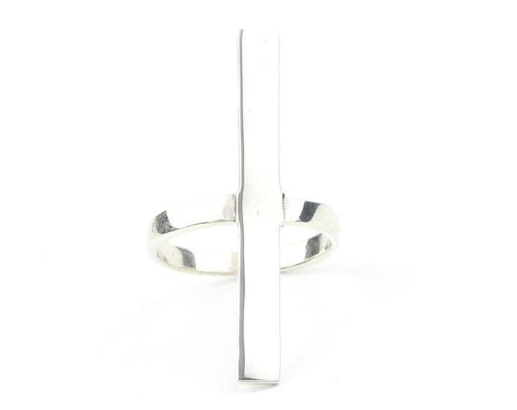 Sterling Silver Long Bar Ring, Geometric Ring, Minimalist Ring, Modern Jewelry, Simple