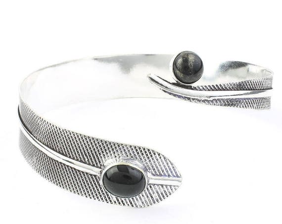 Black Onyx Feather Arm Cuff, Soar Arm Band, Silver Armlet, Festival, Gypsy, Boho, Bohemian, Western, Indian, Hippie, Wiccan, Onyx