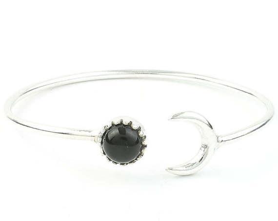 Moonstruck Bracelet, Crescent Moon Bracelet, Black Onyx, Stone Bangle, Arm Cuff, Boho, Bohemian, Wiccan, Gypsy, Festival Jewelry, Minimal