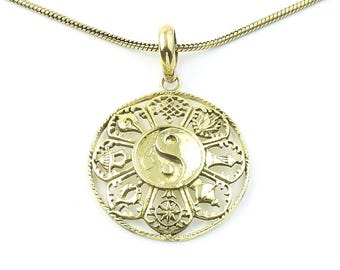 Ashtamangala Necklace, Tibetan, Yin Yang, 8 Auspicious Symbols Pendant, Festival Jewelry, Boho, Bohemian, Gypsy, Hippie, Yoga, Spiritual