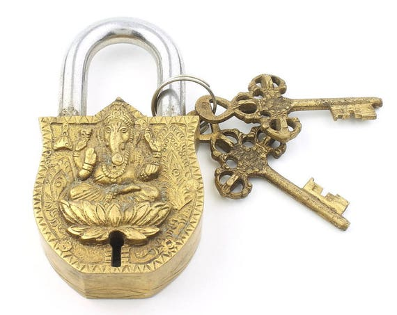 BIG Temple Lock & Key Set, Ganesh, Solid Brass, Antique, Alter Ornament, Vintage Lock, Hindu Artifact, Home Decor,  Hardware Accessories