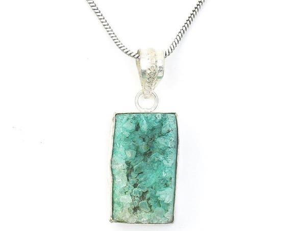 Druzy Necklace, Green Dyed Quartz Drusy, Crystal Necklace, Raw Stone Jewelry, Festival Jewelry, Boho, Hippie