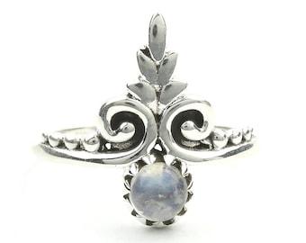 Ludhiana Moonstone Ring, Sterling Silver Moonstone Ring, Ethnic Moonstone Ring, Stone Jewelry, Gemstone, Crystal, Boho, Gypsy, Hippie